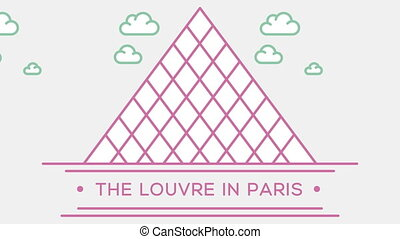Louvre museum in Paris. Part of the set. Animated outlined...