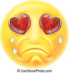 Heartbroken Crying Emoji Emoticon - A cartoon emoji emoticon...