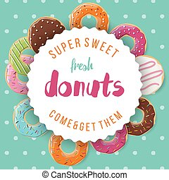 Poster design with donuts - Poster design with colorful...