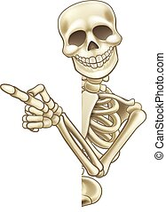 Skeleton Cartoon Peeking Round Sign and Pointing - A...