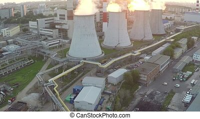 Moscow heat electropower station aerial sunset video