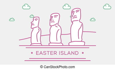Easter island statues. Part of the set. Animated outlined landmark 4K footage