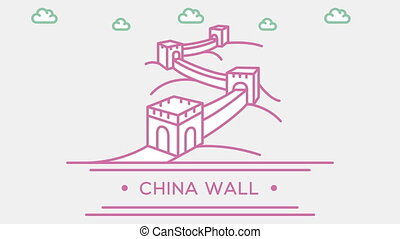 Chinese Great wall. Part of the set. Animated outlined...