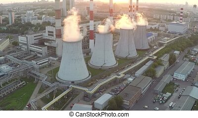 Heat electropower station aerial sunset video
