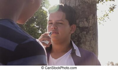 2-Slow Motion Teenager Boy Smoking E-cig Electronic...