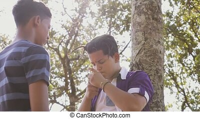 6-Slow Motion Group Of Teenagers Boy Smoking Cigarette -...
