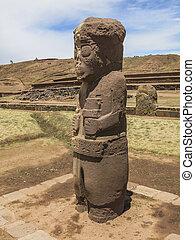 estatua, en, Tiahuanaco, Bolivia,