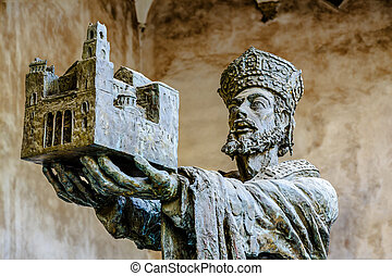 King Willam offering Monreale cathedral to Virgin Mary The...