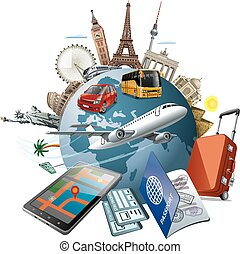 journeyl around the world - concept illustration of travel...