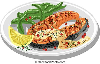 grilled salmon steak on plate with sauce, condiments and...