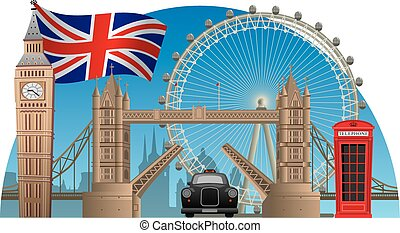 london town - concept illustration of england and london...