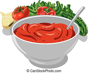 tomato sauce with vegetables, onion, cucumber, lettuce,...
