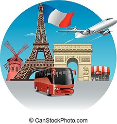 travel and tour in france - concept illustration of travel...