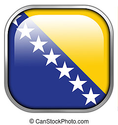 Flag of Bosnia and Herzegovina, square glossy button