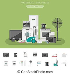 Electronics flat banner - Electronics banner with icons...