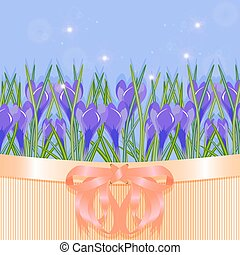 Spring - Background of spring flowers crocuses Vector...