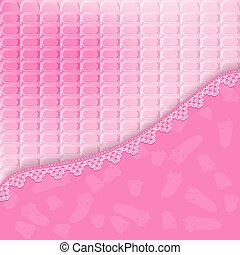 Bright pink background with lace Vector illustration