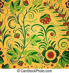 khokhloma gold - The traditional Russian floral seamless...