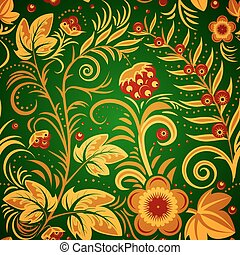 khokhloma green - The traditional Russian floral seamless...