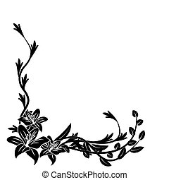 twig - Black and white floral pattern. Vector illustration