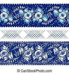 set gzhel dark - Set of horizontal seamless gzhel patterns...