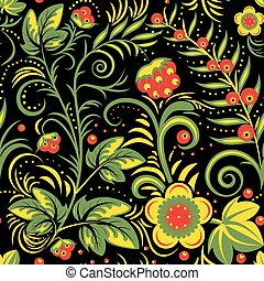 khokhloma traditional - The traditional Russian floral...