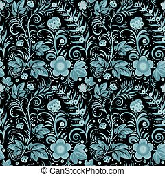 khokhloma blue - Floral seamless background (blue berries...