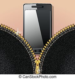 Smartphone and zipper - Denim background with a gold zipper...
