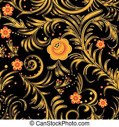 khokhloma black - The traditional Russian floral seamless...