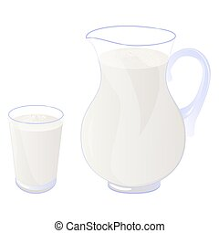 milk - Pitcher and glass of milk isolated on white. Vector...