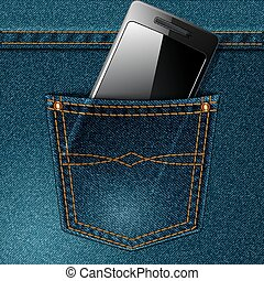 Smartphone and pocket - Smartphone in the jeans pocket...