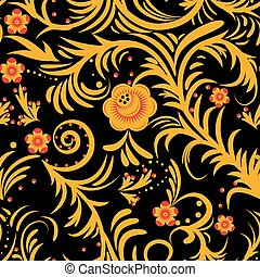 khokhloma yellow - The traditional Russian floral seamless...