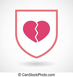 Isolated line art shield icon with a broken heart -...