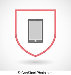 Isolated line art shield icon with a smart phone