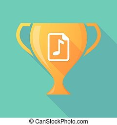 Long shadow award cup icon with a music score icon -...