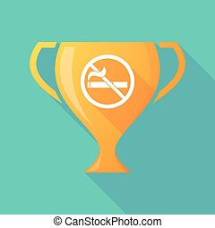 Long shadow award cup icon with a no smoking sign -...