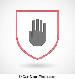 Isolated line art shield icon with a hand