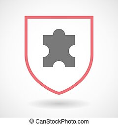 Isolated line art shield icon with a puzzle piece