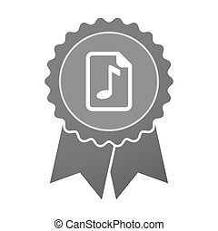 Isolated award badge with a music score icon - Illustration...