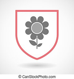 Isolated line art shield icon with a flower