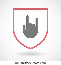 Isolated line art shield icon with a rocking hand