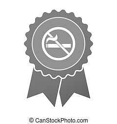 Isolated award badge with a no smoking sign - Illustration...