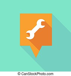 Long tooltip icon with a wrench - Illustration of a long...