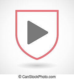 Isolated line art shield icon with a play sign