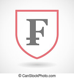 Isolated line art shield icon with a swiss franc sign -...