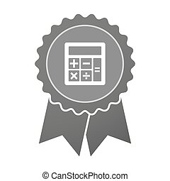 Isolated award badge with  a calculator
