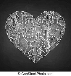 Graphic ocean fish in the shape of heart - Graphic ocean...