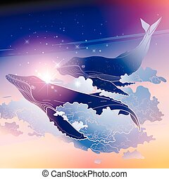 Graphic whales flying in the sky