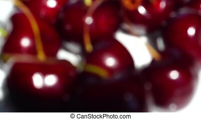 Delicious cherry berries in focus close up