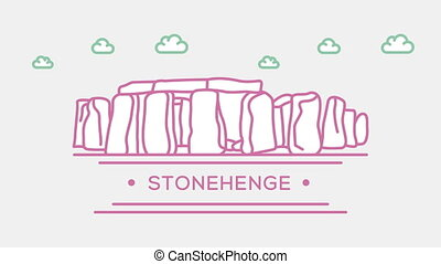 Stonehenge. Part of the set. Animated outlined landmark 4K...